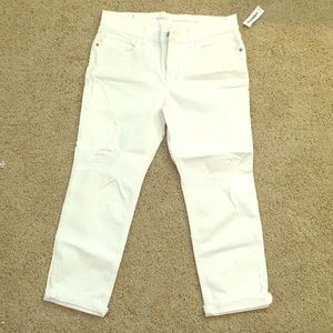 Cropped, torn, white stretch high waist jeans